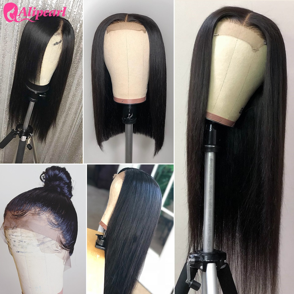 AliPearl Hair Lace Front Human Hair Wigs 130 150 180 Density Brazilian Straight Human Hair Wigs Pre Plucked Remy Natural Color