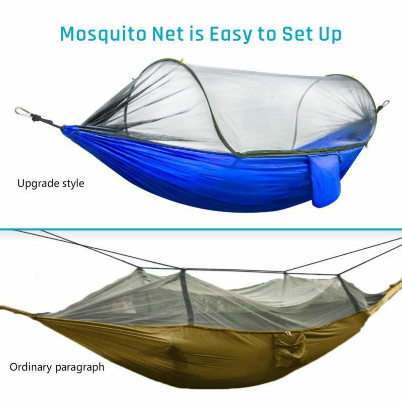 Portable Hammock with Mosquito Net Parachute Fabric Hammock Net Durable and Portable Suit for 2 Persons