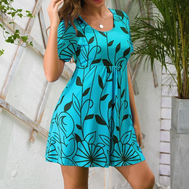 2021 Summer dress women Large Size Beach Boho Print Short Sleeve Women Casual Party Loose Mini Dress Sun dress Dresses for women 3