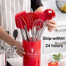 Set di strumenti di cottura del silicone di alta qualità da cucina Ad Alta temperatura resistenza set di pentole con scatola di immagazzinaggio Turner pinze spatola cucchiaio
