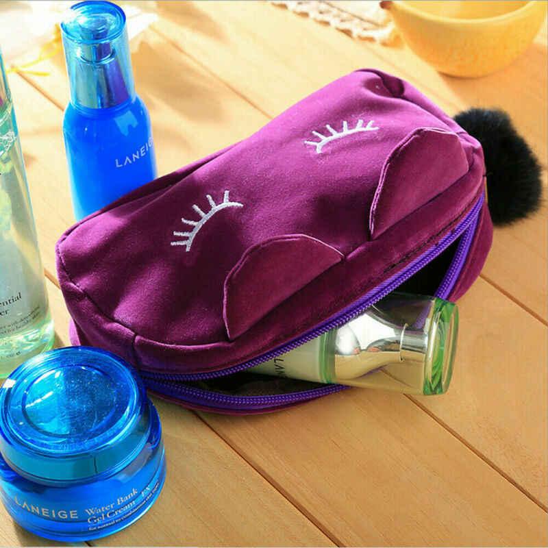 Meihuida 만화 고양이 검은 메이크업 가방 케이스 상자 지퍼 화장품 학교 편지지 벨벳 주머니 지갑 여행 메이크업 가방