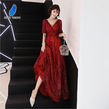 DEERVEADO Elegant V Neck Sequin Evening Dress Long Open Back Half Sleeve Formal Party Dresses Evening Gown Robe De Soiree XYG821