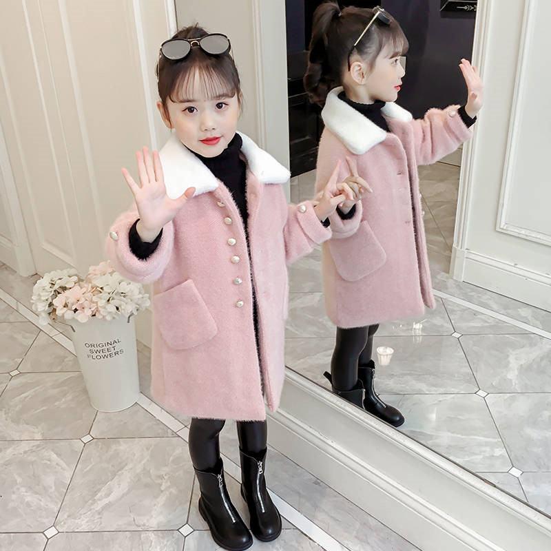 2019 Fashion Autumn Winter Children Girls Wool Coat Kids Girls Faux Mink Fur Single-breasted Outwear Teen Thick Warm Jacket W161