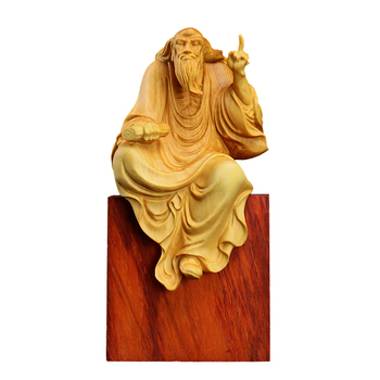 Laozi Preach Boxwood Carving Taoism Laozi Figurines Wall Decor People Decorate Home Ornaments Zen Carving Craft Collection Art