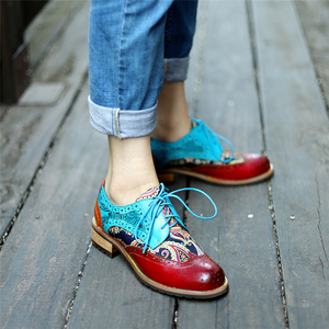 Image 5 - Women Genuine leather brogue casual designer vintage Retro lady flats shoes handmade oxford shoes for women blue 2020 spring
