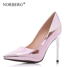 NORBERG  gold leather high heel shallow mouth stiletto fashion wedding shoes sequins pump summer women