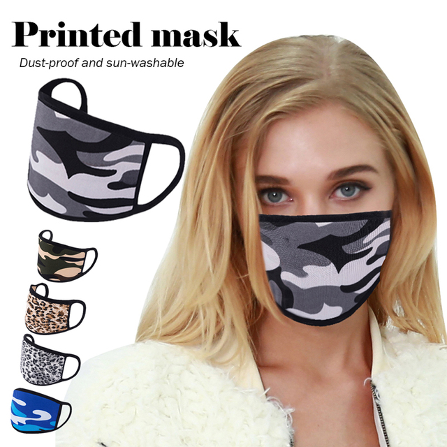 Printing Mouth Mask Reusable Protective PM2.5 Filter Paper Mask Anti Dust Face Mask Bacteria Proof Flu Mask