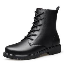 Moda męska przypadkowi buty motocyklowe z prawdziwej skóry boczny zamek błyskawiczny podstawowe Martin buty zimowe ciepłe buty na śnieg duże rozmiary Punk buty tanie tanio L SOLD CN (pochodzenie) Skóra Split RUBBER 4910511 Lace-up Pasuje prawda na wymiar weź swój normalny rozmiar Stałe