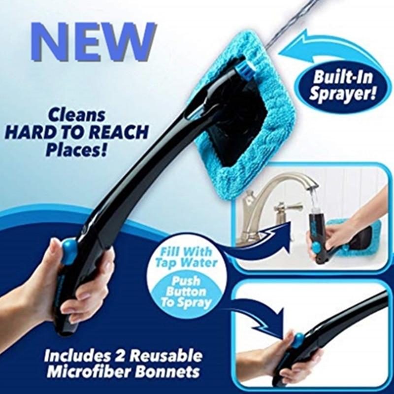 Folding Car Water Spray Cleaning Brush Hurricane Windshield Rotating Fog Cleaning  Brushes Glass Window Car Windscreen Cleaner