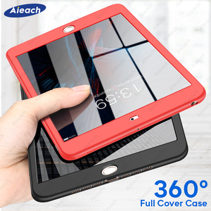 Case For iPad Air 1 2 3 mini 4 5 For iPad Pro 10.5 Silicone 360 Full Body Cover + Free Glass For iPad 2017 2018 9.7 5th 6th Case(China)