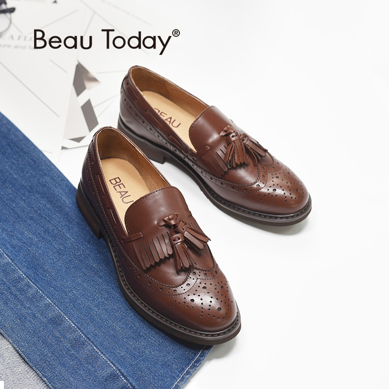 BeauToday Loafers Women Brogue Style Genuine Cow Leather Brand Fringe Round Toe Slip On Lady Flats