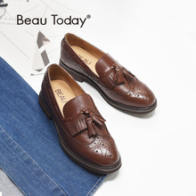 BeauToday Loafers Women Brogue Style Genuine Cow Leather Brand Fringe Round Toe Slip On Lady Flats Good Quality Handmade 21046