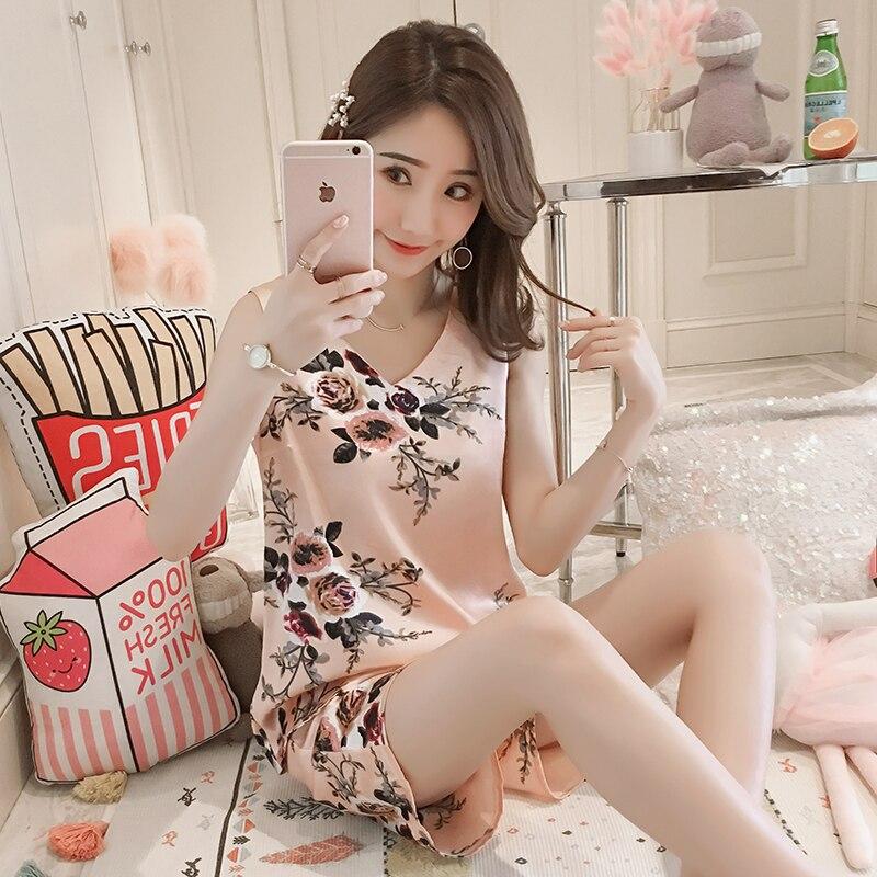 New Sale 2pcs Women Sleepwear For Summer Short Ice Silk Vest Pajamas Sets 2020 Girl Print Pyjama Set Women Nightshirt Sets