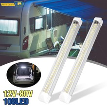 2 pces 108 led interior do carro branco tira barra de luz interior do carro lâmpada interior com interruptor de ligar/desligar van cabine caminhão camper barco
