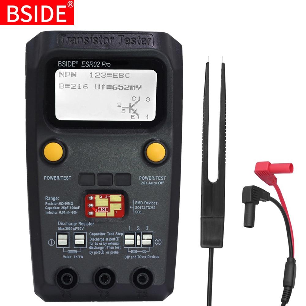 BSIDE ESR02 pro многоцелевой тестер транзисторов, диодный триодный измеритель емкости, ЖК-дисплей, измеритель ЭПС MOS/PNP/NPN SMD тестер