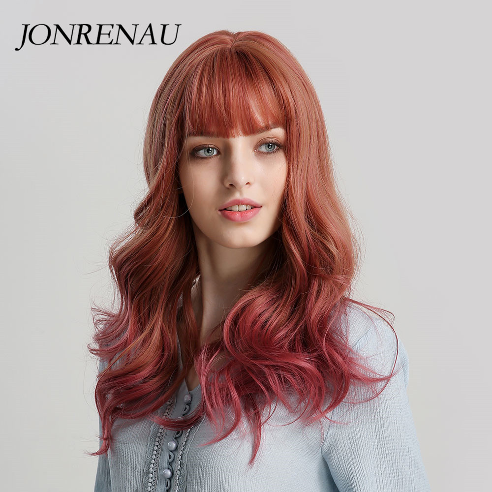 JONRENAU  Long Body Wave Hair Wigs With Neat Bangs Orange And Wine Red Ombre Color Synthetic Women Cosplay Or Natural Wig