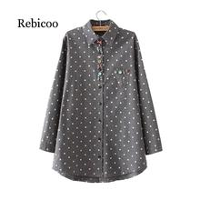 2019 autumn new fat MM large size ladies cotton shirt dot print double-sided brushed