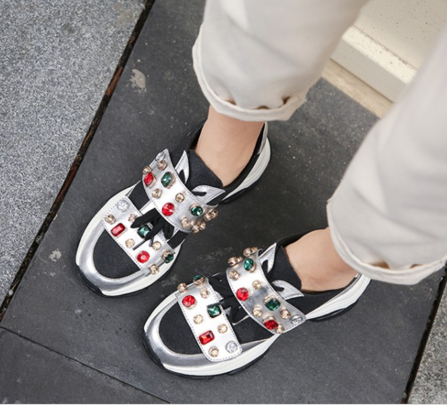 Womens Round Toe Genuine Leather Rhinestones Crystal Sneakers Lace Up Mid Heel Casual Shoes Korean Style Luxury New C665