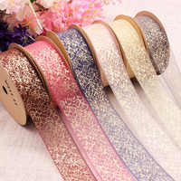 5 Yard 25mm Snow Yarn Organza Ribbon DIY Gift Wrapping Bowknot Clips Ribbon Hair Accessory Christmas Wedding PartyDecor