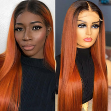 Straight Hair Wig Ombre 1B/Orange Lace Front Wigs 180% Remy Human Hair Wigs Ombre Ginger Orange Straight T Part Lace Wigs