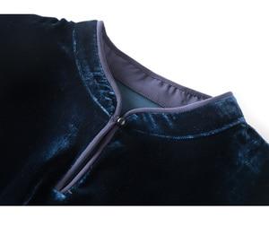 Image 5 - SuyaDream Long Sleeved Mandarin Collar Belted Waist Velour Blouses Solid Office Lady Blouse Shirt 2019 Autumn Shirt