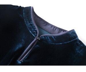 Image 5 - SuyaDream بأكمام طويلة اليوسفي طوق مربوط الخصر القطيفة البلوزات الصلبة مكتب سيدة بلوزة قميص 2019 الخريف قميص