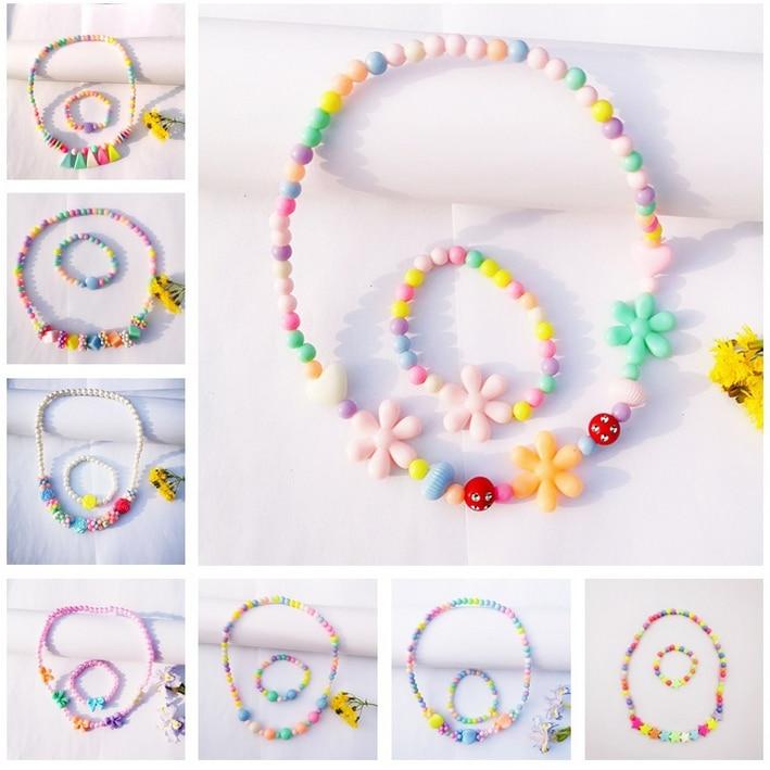 pulsera con flores multicolor para niños Nuevo set collar