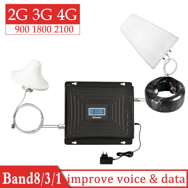 Lintratek 2G 3G 4G 900 1800 2100 Tri Band Signal Booster GSM 900mhz WCDMA 2100mhz DCS 1800mhz Repeater Cellular Amplifier Set 7