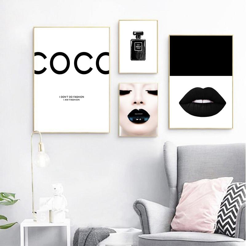 Fashion Canvas Painting Makeup Room Wall Art Picture Sexy Girl Black Lips Eyelash Art Prints Poster Beauty Salon Decoration