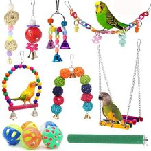 13pcs Bird Cage Toys Parrots Reliable & Chewable - Swing Hanging Chewing Bite Bridge Wooden Beads Ball Bell Toys Random Color