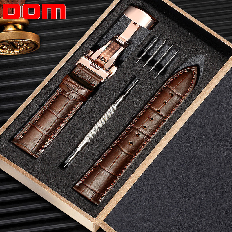 Genuine Leather Watch Band Strap Stainless Steel Butterfly Clasp 13mm 14mm 15mm 16mm 17mm 18mm 19mm 20m 21mm 22mm Watchband Gift