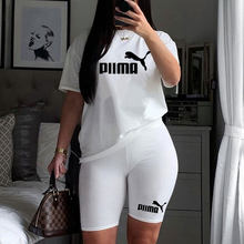 Pink Letter Print Fitness Casual Two Piece Set Summer 2021 Women Tracksuits Outfits S-XL T-Shirt And Biker Shorts Matching Sets