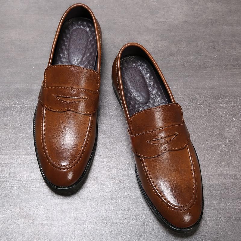 Autumn Men Shoes Leather Men Dress Shoes Luxury Men's Business Oxfords Classic Gentleman Shoes