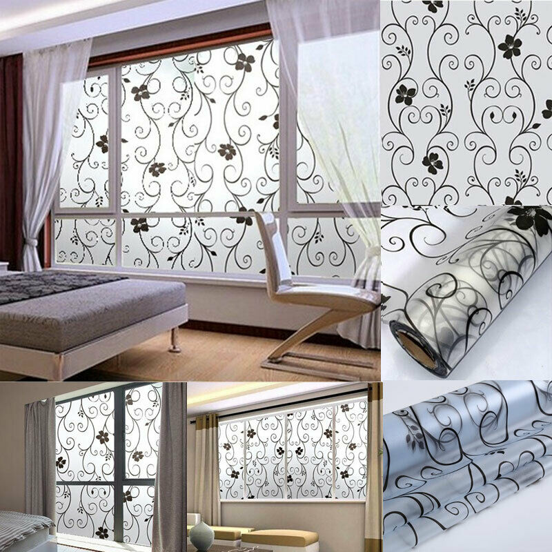 Floral Pattern Frosted Window Film No Glue Self Adhesive Vinyl Static Cling Privacy Glass Door Sticker Bathroom For Home Decor