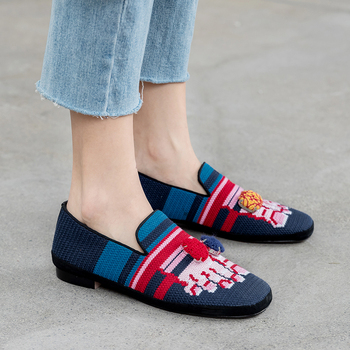 Xiuningyan Shoes Woman Ballet Flats Tassel Loafers 2020 Women Shoes Round Toe Ballet Flats Black Green Soft Roll Mother Shoes