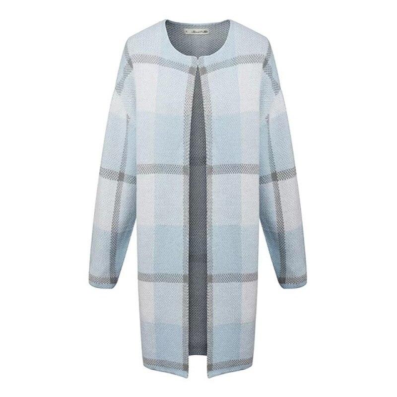 2018 nouvelle mode automne mode femmes bleu Plaid décontracté Cardigan simple bouton o-cou à manches longues chandail B038