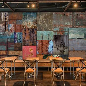 Custom 3D Mural Wallpaper Retro Iron Sheet European Style Art Wall Painting Living Room Bar Cafe 3D Wall Murals Photo Wallpaper цена 2017
