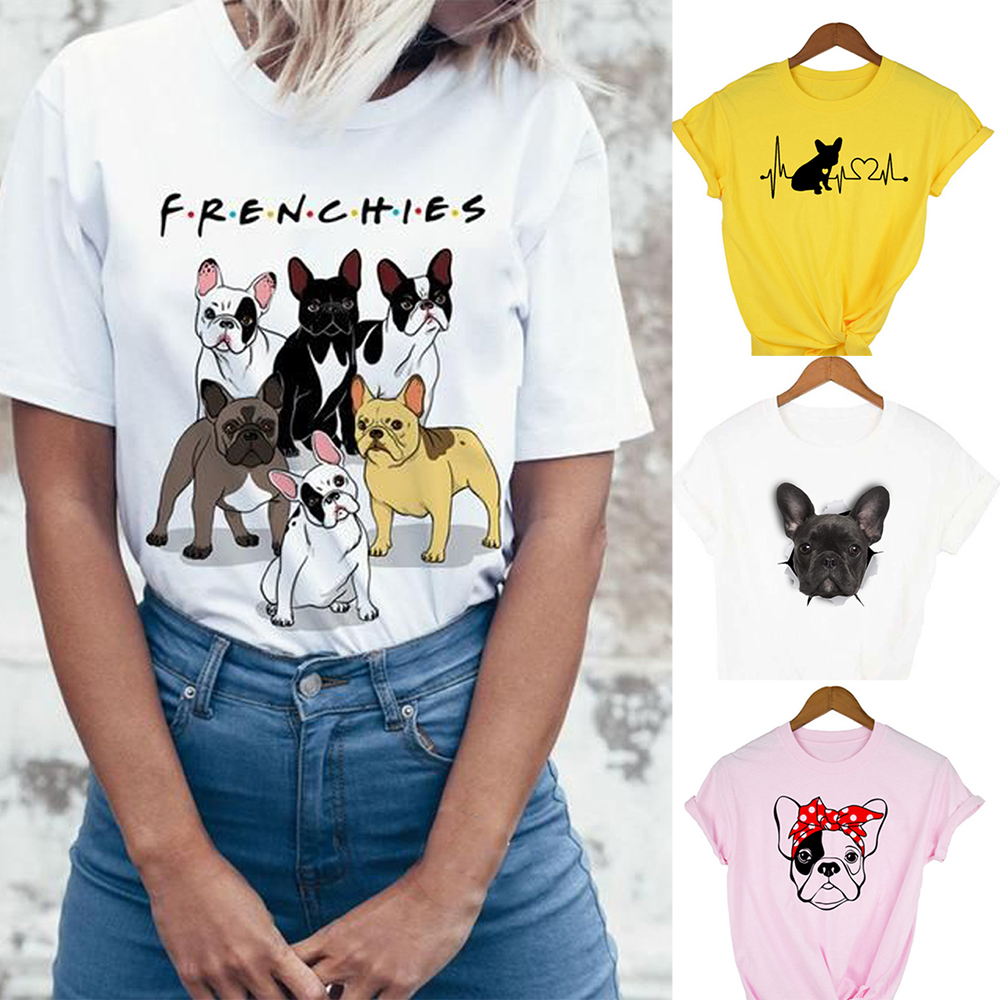 Graphic Tees Women Frenchie T-shirt With Print Funny Cute French Bulldog T Shirts Tops Tshirts Camisetas Mujer Female Clothing