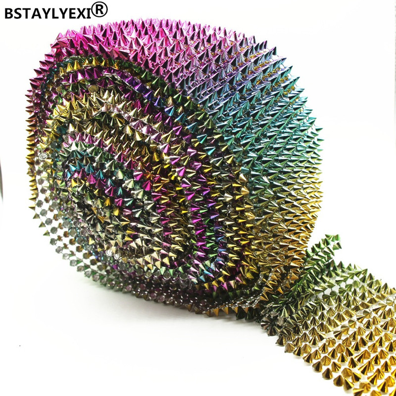 14 рядов, разные цвета, красивые золотые шипы, заклепки, Пластиковые Стразы, сетчатая отделка, искусственная отделка, 1 ярд