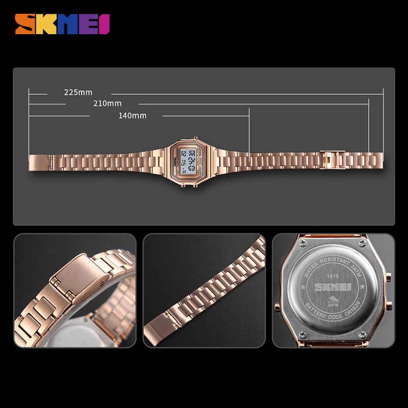 SKMEI kadınlar saatler bayanlar su geçirmez dijital kol saati kronometre siyah ışık alarmı kadın spor saatler saat reloj mujer 1415