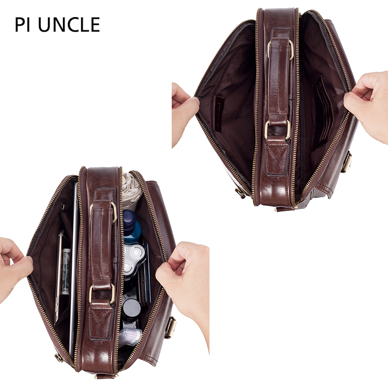 Image 3 - Mens Briefcase Pack Genuine Leather Shoulder Bag Male Vintage Crossbody Bags Men Messenger Multi Compartment Handbags LeatherTop-Handle Bags   -