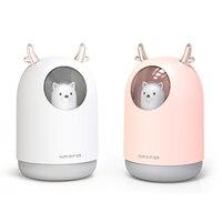 300 ml usb mini umidificador de ar ultra sônico bonito pet aroma difusor óleo colorido led night light fabricante névoa fria para o quarto|Umidificadores| |  -