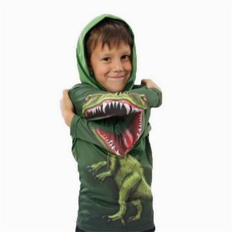 Horror Dinosaur Hoodies for Boy Cartoon Polyeste 3-8y Teenager Novelty Long Sleeve Pullover Sweatshirts Girl Children's Clothing