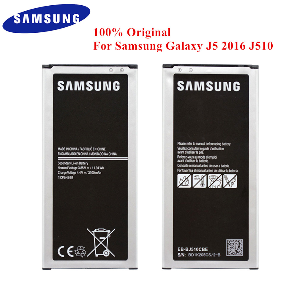100% Original <font><b>Battery</b></font> EB-BJ510CBE for <font><b>Samsung</b></font> Galaxy J5 2016 Edition <font><b>J510</b></font> SM-J510F J510FN J510G J510Y J510M J5108 3100mAh image