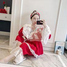 Patchwork Spitze Mode Frau Baumwolle Blending Kimono Pyjamas Lose Langarm Hosen Set Nachtwäsche