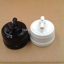 5 pcs Home improvement High Quality Eu Ceramic Switch 2 Way Wall Lamp Switch Smart Light Knob Switch 10A
