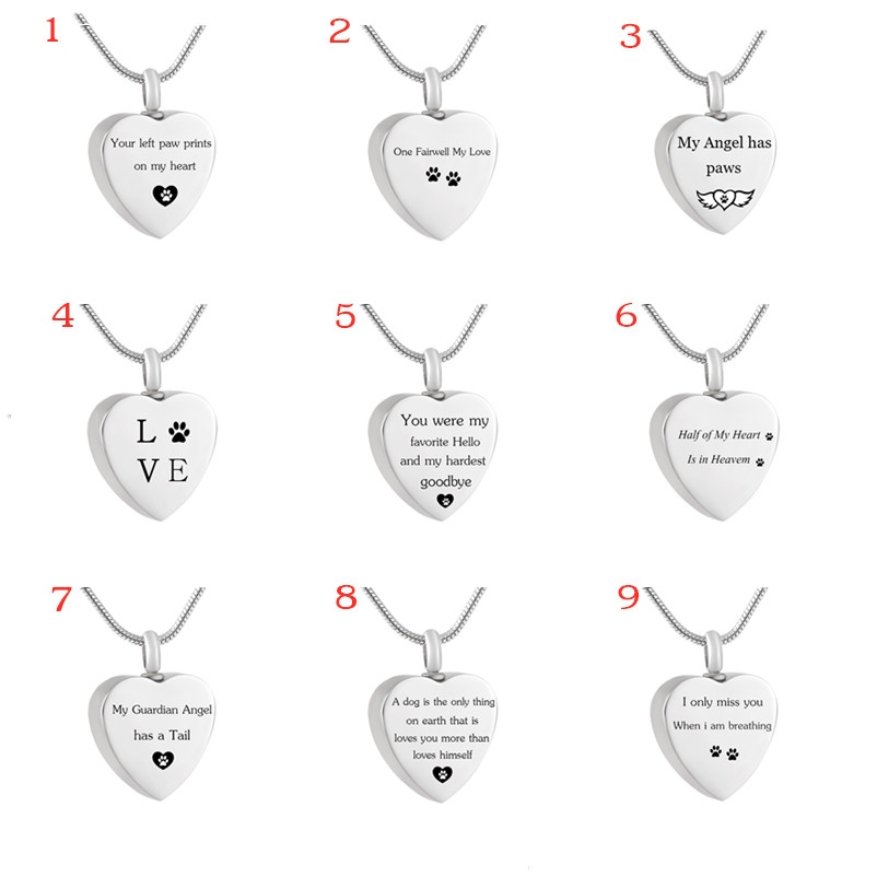 LHP155 9 design Stainless Stainless Pet Cremation Jewelry for <font><b>Dog</b></font> or <font><b>Cat</b></font> Memorial Keepsake Ashes <font><b>Jewellery</b></font> with fill kits image