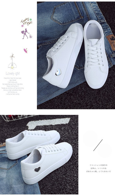 2019 Autumn Woman Shoes Fashion New Woman PU Leather Shoes Ladies Breathable Cute Heart Flats Casual Shoes White Sneakers 20