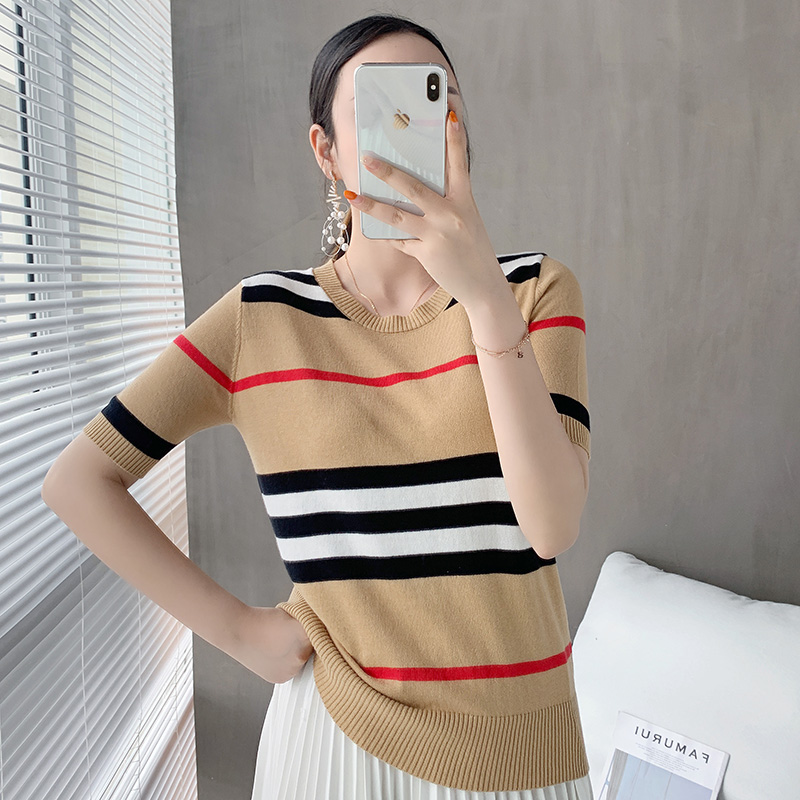 New knitted striped short-sleeve t-shirt women loose wild round neck cotton and linen knitted half sleeves Wool sweater top hot