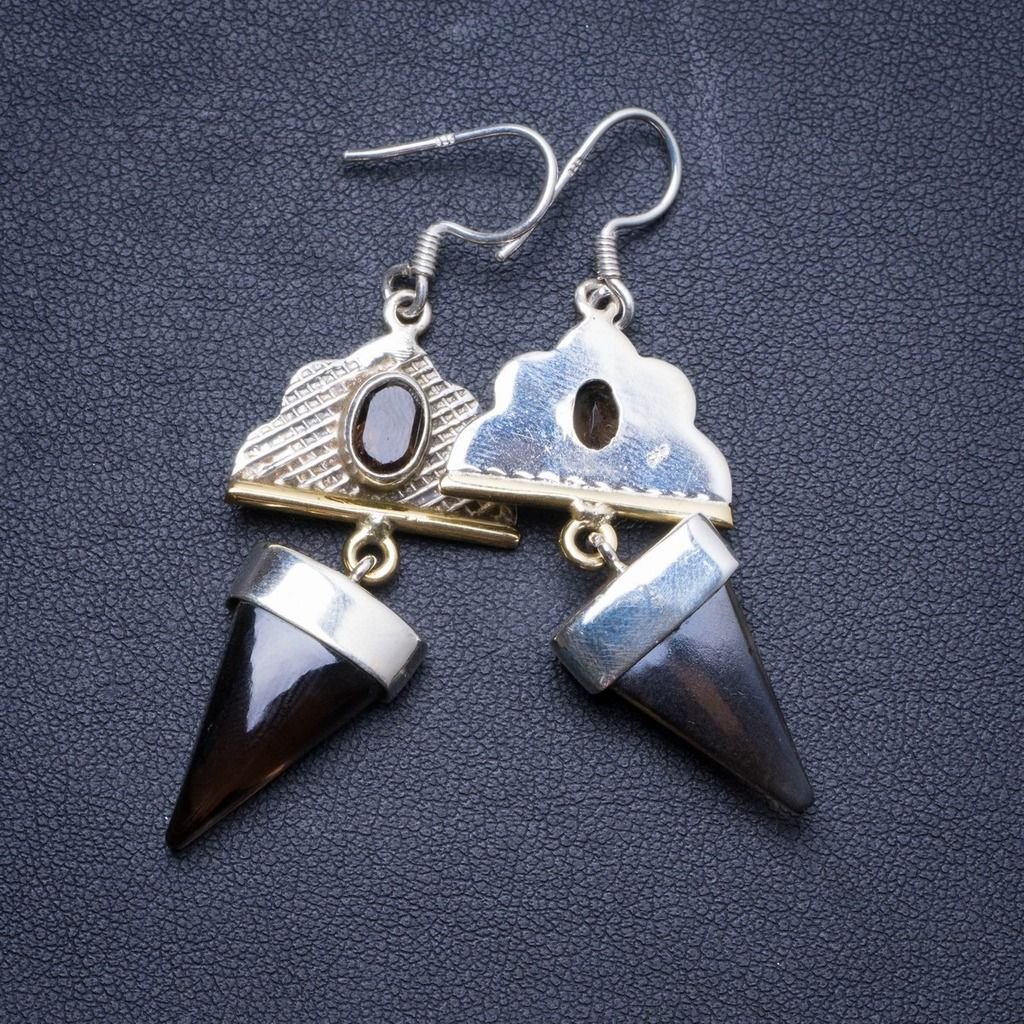 """Natural Two Tones Smoky Quartz Handmade Unique 925 Sterling Silver Earrings 2.25"""" X4190"""